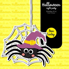 Cute Halloween design concept with spider hanging on cobweb costume for poster, banner, party invitation, greeting card. Vector Illustration.