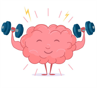 Brain training with dumbbells, mind workout. Vector