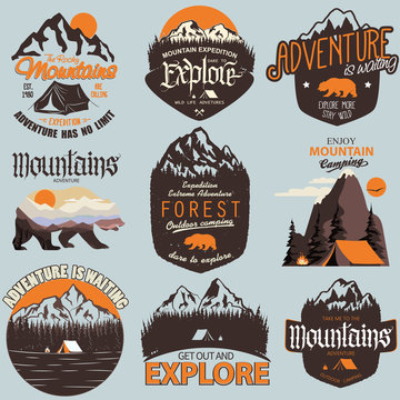 Outdoor expedition typography. Adventure t-shirt print set