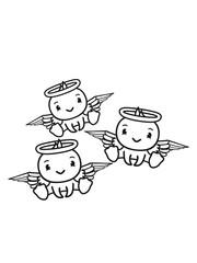 3 freunde team crew ente vogel küken engel himmel sitzen tot gestorben schutzengel süß neidlich comic cartoon klein clipart flügel heiligensch
