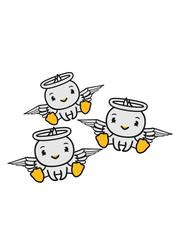 3 freunde team crew ente vogel küken engel himmel sitzen tot gestorben schutzengel süß neidlich comic cartoon clipart flügel heiligenschein kl
