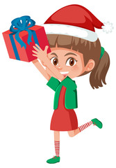 Young girl holding present