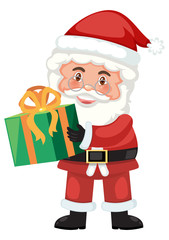 Santa holding a present