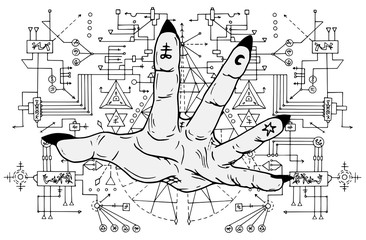 Open palm with mystic signs on fingers against sacred geometry pattern. Esoteric, occult and Halloween concept, mystic vector illustrations for music album, book cover, t-shirts