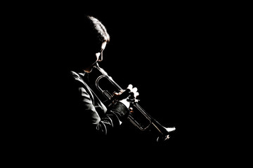 Photo sur cadre textile Musique Trumpet player playing jazz musician woman