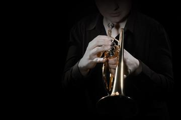 Keuken foto achterwand Muziek Trumpet player with brass instrument playing jazz music