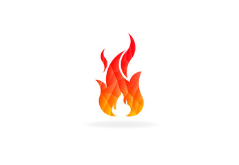 Fire flame with negative space. Low poly vector logo