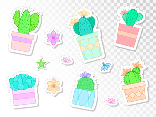 Vector set of stickers with cacti and succulents in flower pots. Flat style. Colored collection.