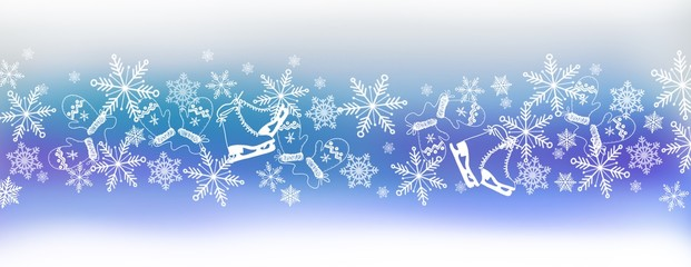panorama winter border design in blues with snowflakes and winter theme