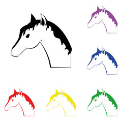 Elements of horse in multi colored icons. Premium quality graphic design icon. Simple icon for websites, web design, mobile app, info graphics