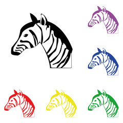 Elements of zebra in multi colored icons. Premium quality graphic design icon. Simple icon for websites, web design, mobile app, info graphics
