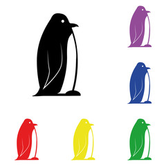 Elements of penguin in multi colored icons. Premium quality graphic design icon. Simple icon for websites, web design, mobile app, info graphics
