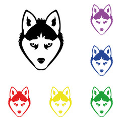 Elements of wolf in multi colored icons. Premium quality graphic design icon. Simple icon for websites, web design, mobile app, info graphics