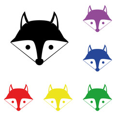 Elements of fox in multi colored icons. Premium quality graphic design icon. Simple icon for websites, web design, mobile app, info graphics