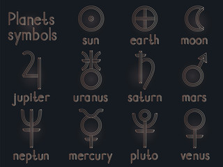 Vector set of astrological planets symbols. Gold contour. Signs collection: sun, earth, moon, saturn, uranus, neptune, jupiter, venus, mars, pluto, mercury.