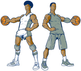 Vector Set of Two Modern and Retro Basketball Players