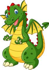 Photo sur Plexiglas Dinosaurs Cartoon dragon posing isolated on white background