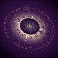 Vector illustration with Horoscope circle, Zodiac symbols and astrology constellations on the starry night sky background with geometry pattern. Image in perspective. Gold and purple elements. Vector.