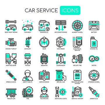 Car Service , Thin Line and Pixel Perfect Icons.