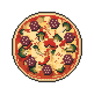 Pizza pixel art on white background. Vector illustration.