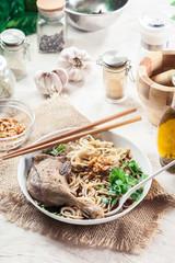 Delicious duck noodle soup