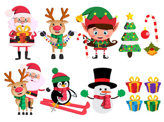 Christmas characters and elements vector set with santa claus, reindeer, elf and snowman holding christmas objects in white background.Vector illustration.