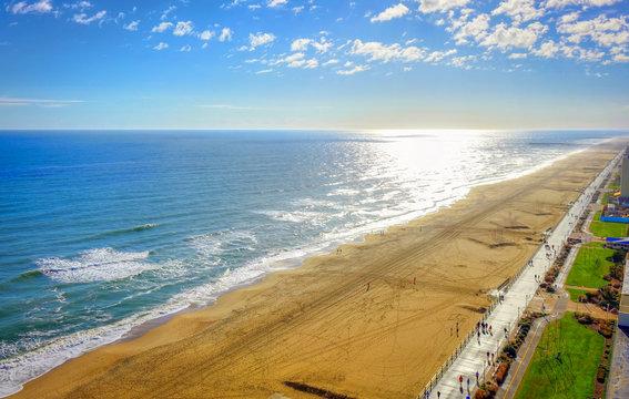 Virginia Beach Boardwalk   High aerial panoramic view   Virginia Beach, VA, USA.