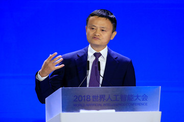 Alibaba Group co-founder and executive chairman Jack Ma attends the WAIC in Shanghai