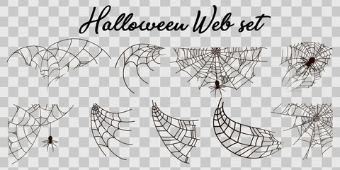 Vector illustration Halloween spider web isolated on transparent background. Hector venom cobweb set. Halloween monochrome spider web