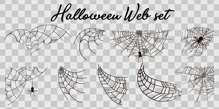 Vector illustration Halloween spider web isolated on transparent background. Hector venom cobweb set. Halloween monochrome spider web