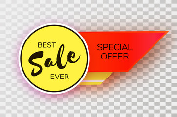 Sale Banner in paper cut style. Origami discount tag, special offer, buy now. Graphic element on transperent background. Space for text.