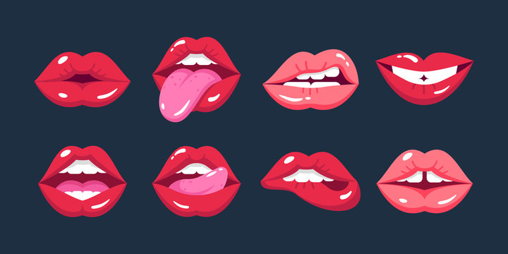 Painted female lips, in cartoon style, in different emotions, expressions.