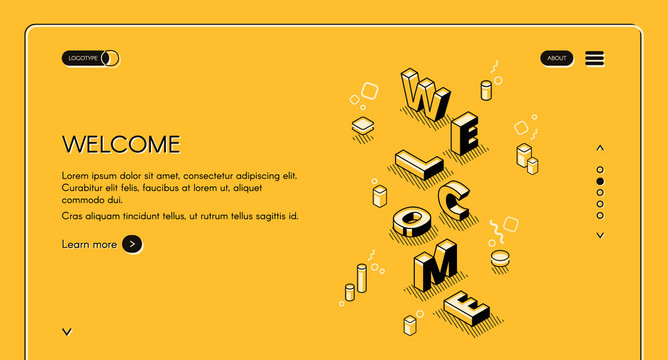 Welcome web main page vector illustration of word letters in isometric black thin line design on yellow halftone background. Layout template for website or landing page with navigation buttons