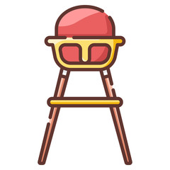 Baby high chair LineColor illustration