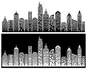 City skyline, building silhouette in night time, for flat