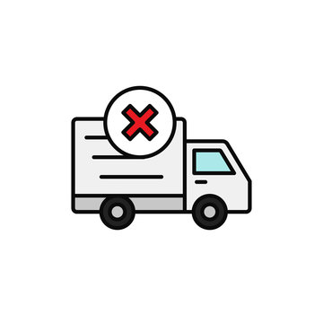 delivery truck cross mark icon. not loaded car, lost shipment item illustration. simple outline vector symbol design.