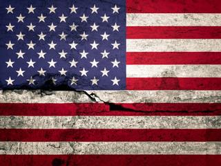 abstract USA Flag printed on wall.