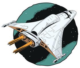 Space ship in flight.