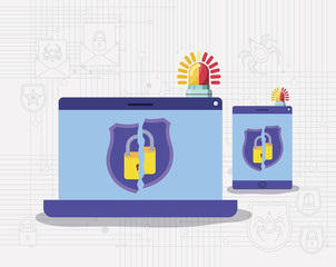 cyber security with laptop