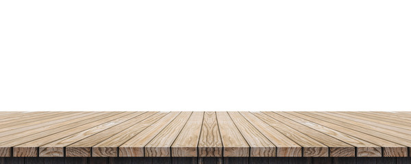 Empty old grunge wood plank table top isolated on white background,Use for display for montage of product and leave space for replace of your background.