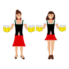 Two girls with beer at the Oktoberfest