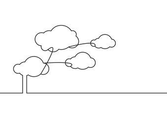 Continuous line drawing. Clouds connection on white background. Vector illustration