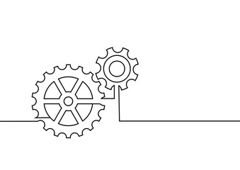Continuous line drawing. gear collaboration. business concept. Vector illustrations