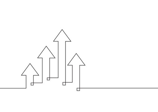 Continuous line drawing of growth arrows. Business concept. Vector illustration