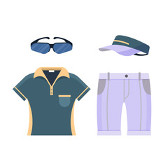 Golf uniform set clothes icon isolated on white background, flat elements for golfing such as glasses, shirt, shorts and cap, golf equipment - vector illustration.