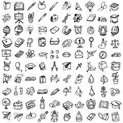 Back to School doodle set. Various school stuff - supplies for sport, art, reading, science, geography, biology, physics, mathematics, astronomy, chemistry. Vector isolated over white background