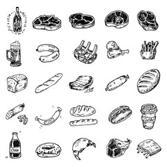 Hand drawn set of food and beverages, doodles meat, sausages, bakery products, beer, cola, fast food. Vector illustration