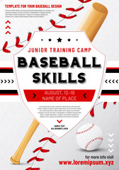 Baseball poster template with shield, ball and bat
