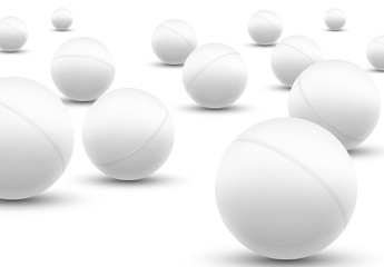 3d ping pong balls set. Vector ping pong club department ball icon