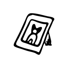 Hand drawn picture of a dog doodle. Sketch pets icon. Decoration element. Isolated on white background. Vector illustration